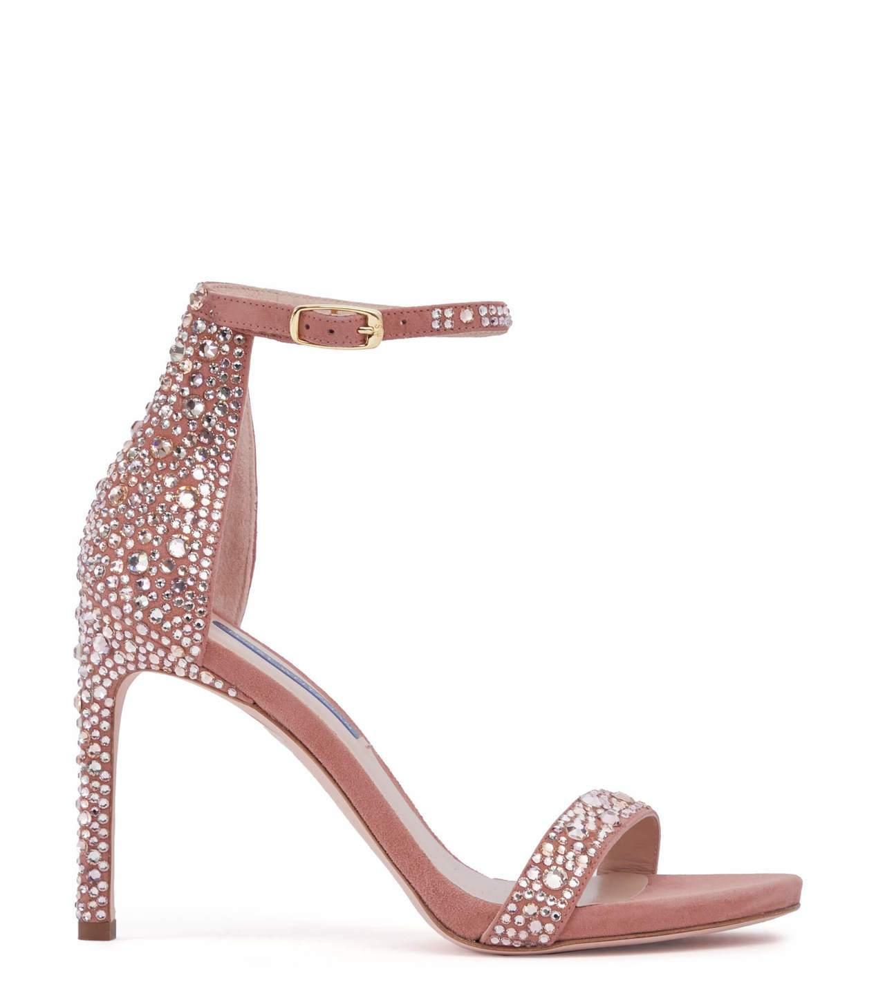 粉色Nudistsong Stardust麂皮缀彩色水晶鞋,售價35,200元。...