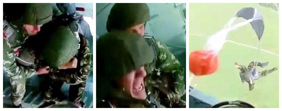 一名俄羅斯軍校生疑似是初次跳傘,嚇到不停尖叫,也不敢跳出機門,最後被教官無情地一...