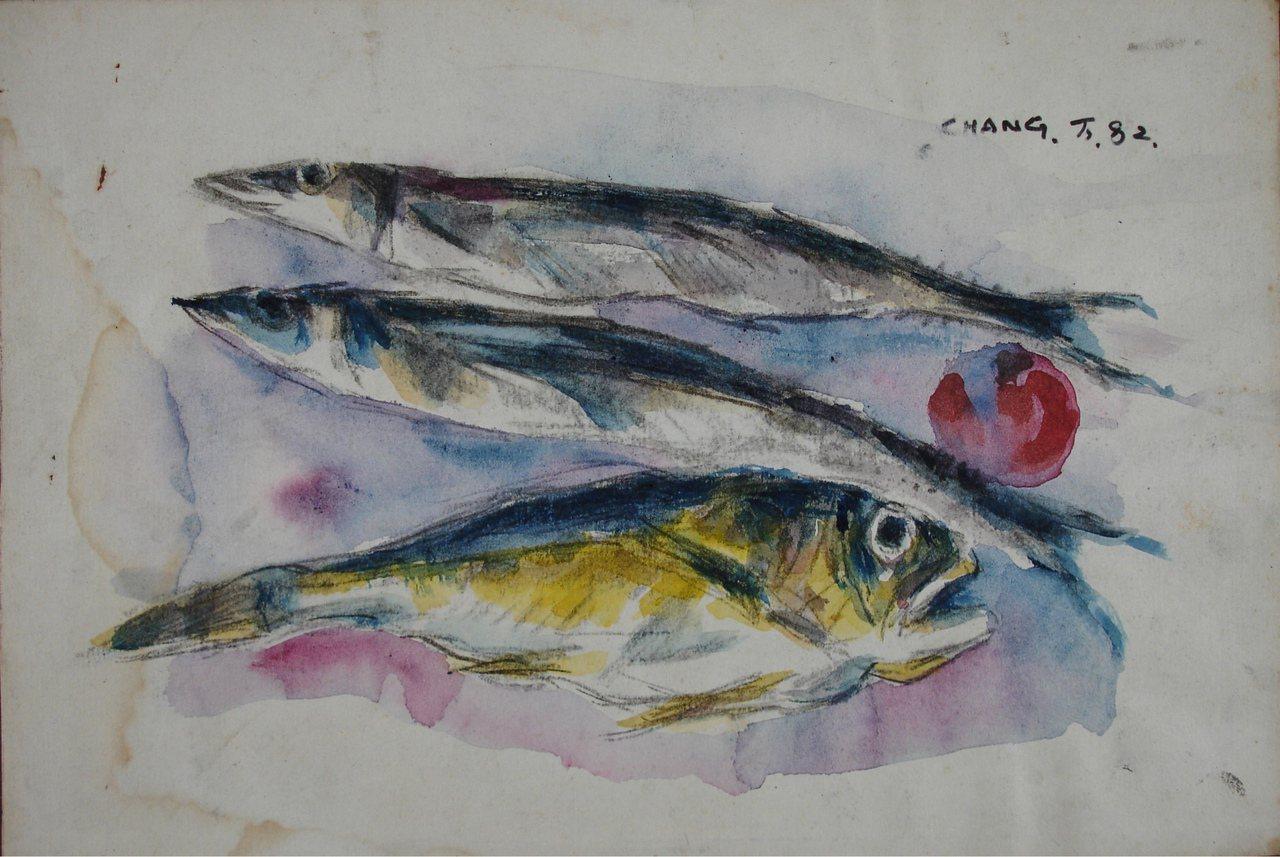 張萬傳愛魚、畫魚、吃魚,魚成為呼應畫家生活的獨特藝術題材。圖/國父紀念館提供