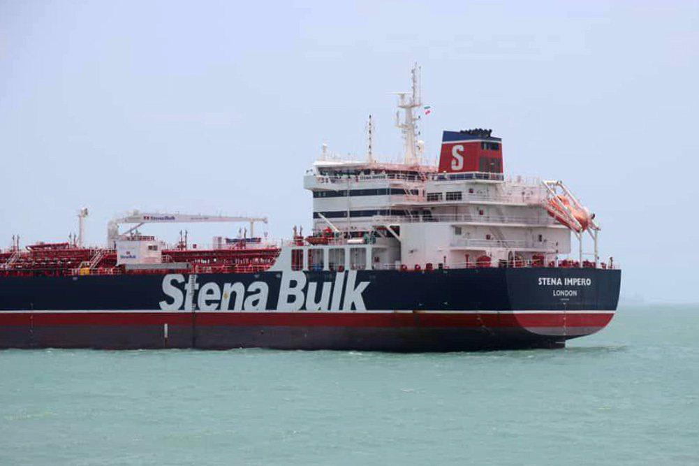 遭到伊朗扣押、懸掛英國國旗的史丹納帝國號油輪。法新社