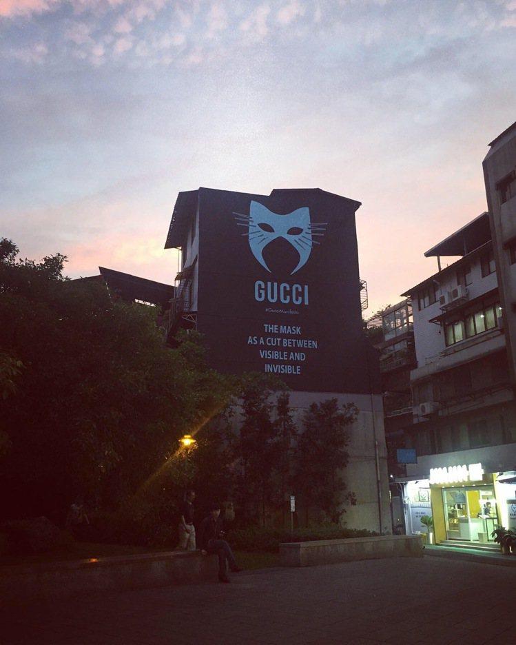 永康街Gucci Art Wall與世界其他城市同步換上了面具圖樣,在前幾日颱風...