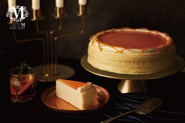 「內格羅尼調酒千層蛋糕」單片280 元、九吋2,800元。圖/Lady M提供
