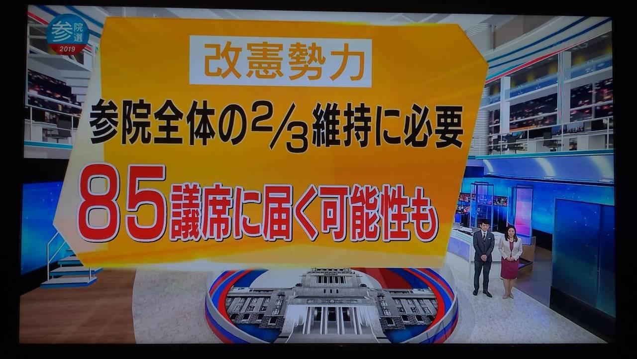 NHK出口民調顯示安倍政權為首的支持修憲勢力有機會保住2/3修憲門檻,但其他媒體...