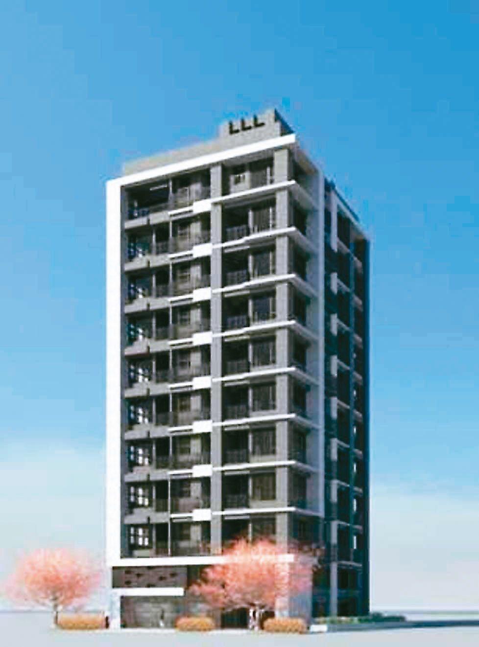 北市首件危老建案日前動土,2層樓老舊公寓,將變成10層電梯華廈(圖為模型圖)。圖...