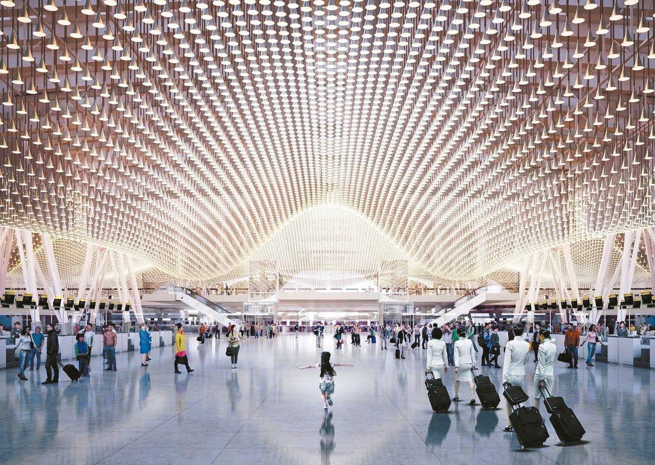 桃機第三航廈出境大廳亮點「雲頂天花板」,造價高昂、維護麻煩,桃機研擬更改設計。 ...