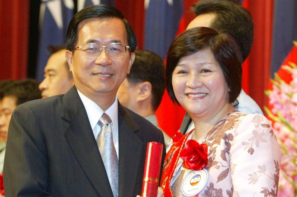 陳水扁與江霞。圖/聯合報系資料照片