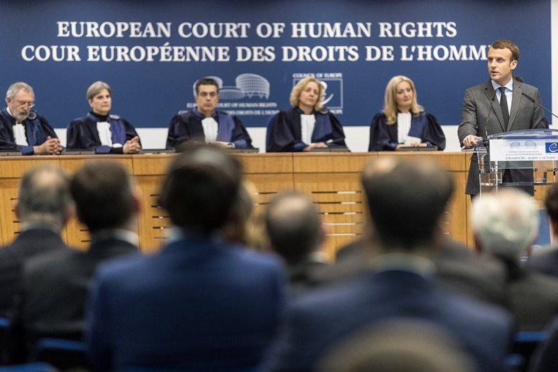 2017年10月,法國總統馬克宏在歐洲人權法院上致辭。 圖/路透社