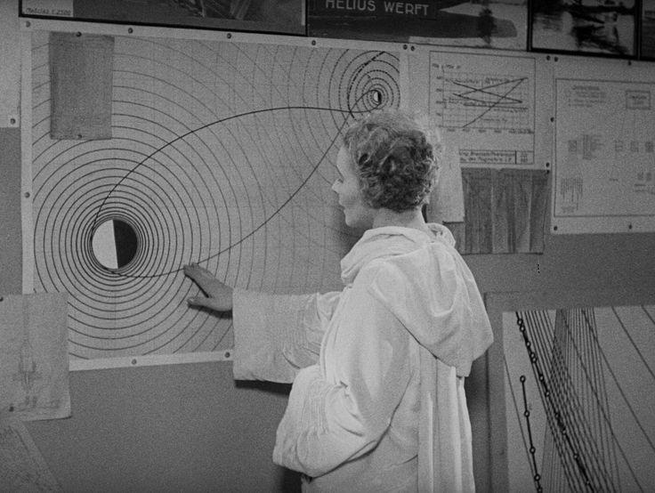 女主角正在端詳地月系統的重力場和太空船的軌道。即使是今天,這麼認真的科幻電影也不多。