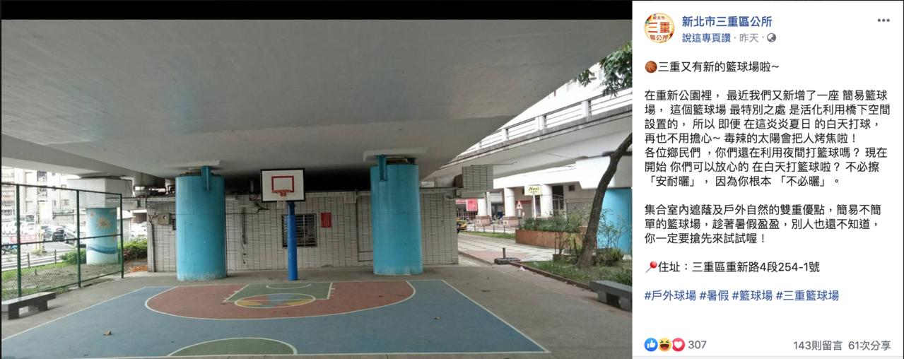新北三重區公所活化橋下空間設置簡易籃球場,要讓民眾白天打球不怕被太陽曬昏。圖/翻...