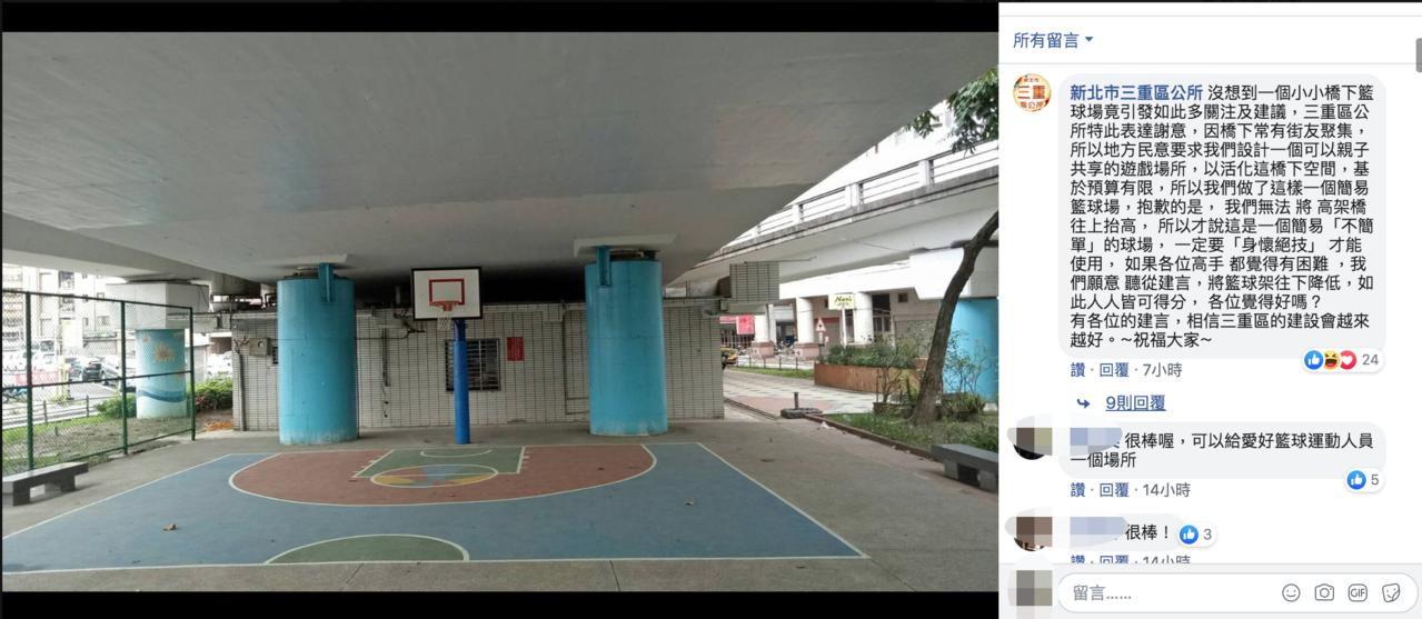 新北三重區公所活化橋下空間設置簡易籃球場,未料該籃球場卻因為橋下高度問題,投籃會...