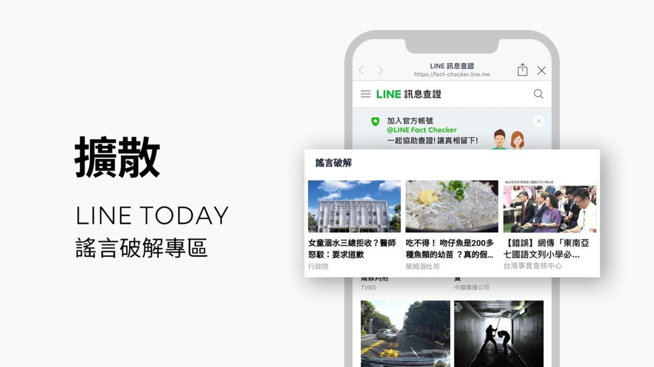 LINE TODAY增設「謠言破解」專區,讓已查核過的內容更快觸及所有用戶。圖/...