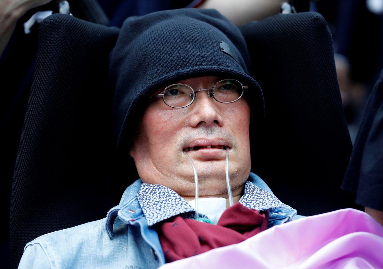 圖五:政治團體令和新選組一席由罹患漸凍人症的舩後靖彥當選。路透
