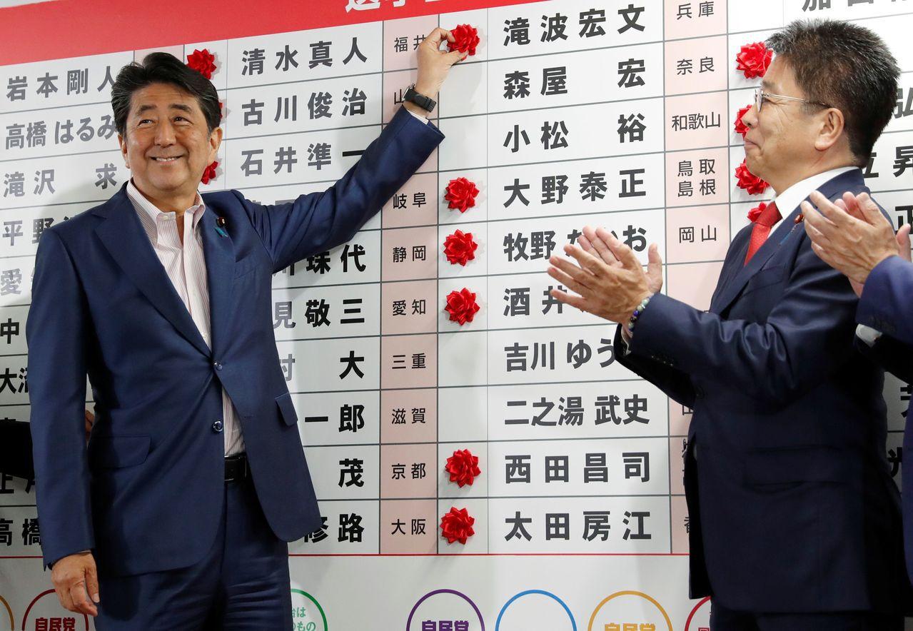 圖二:日本首相安倍晉三的執政聯盟在參院選舉贏得六連勝,黨內希望他再做第四任的呼聲...
