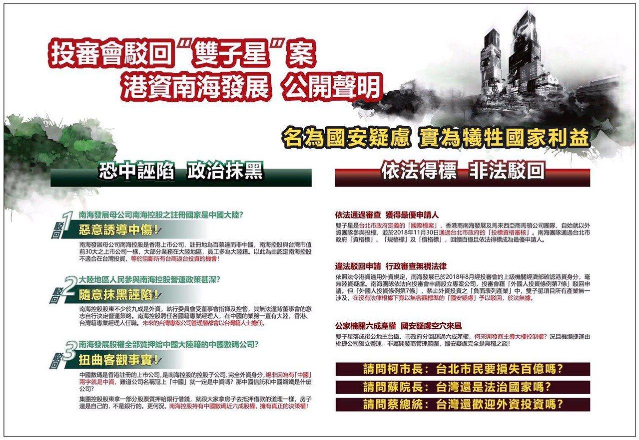 台北雙子星聯合開發案爭議不斷,最優申請人南海團隊今天打破沉默發表聲明。圖/南海團...