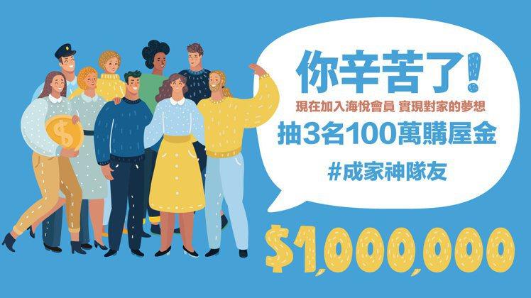 「百萬購屋金」圓夢計畫開跑,送百萬購屋金。圖/海悅國際提供