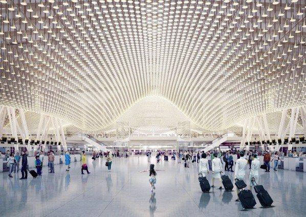 桃園機場第三航廈主體工程上月三度流標,桃機董事長王明德說建設成本太高。圖/桃機提...