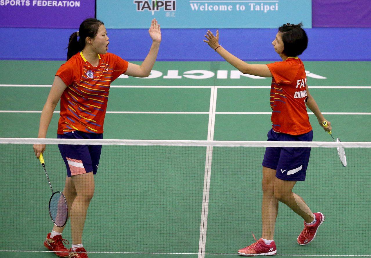 沈彥汝(左)和范榮玉打下女雙金牌。記者余承翰/攝影