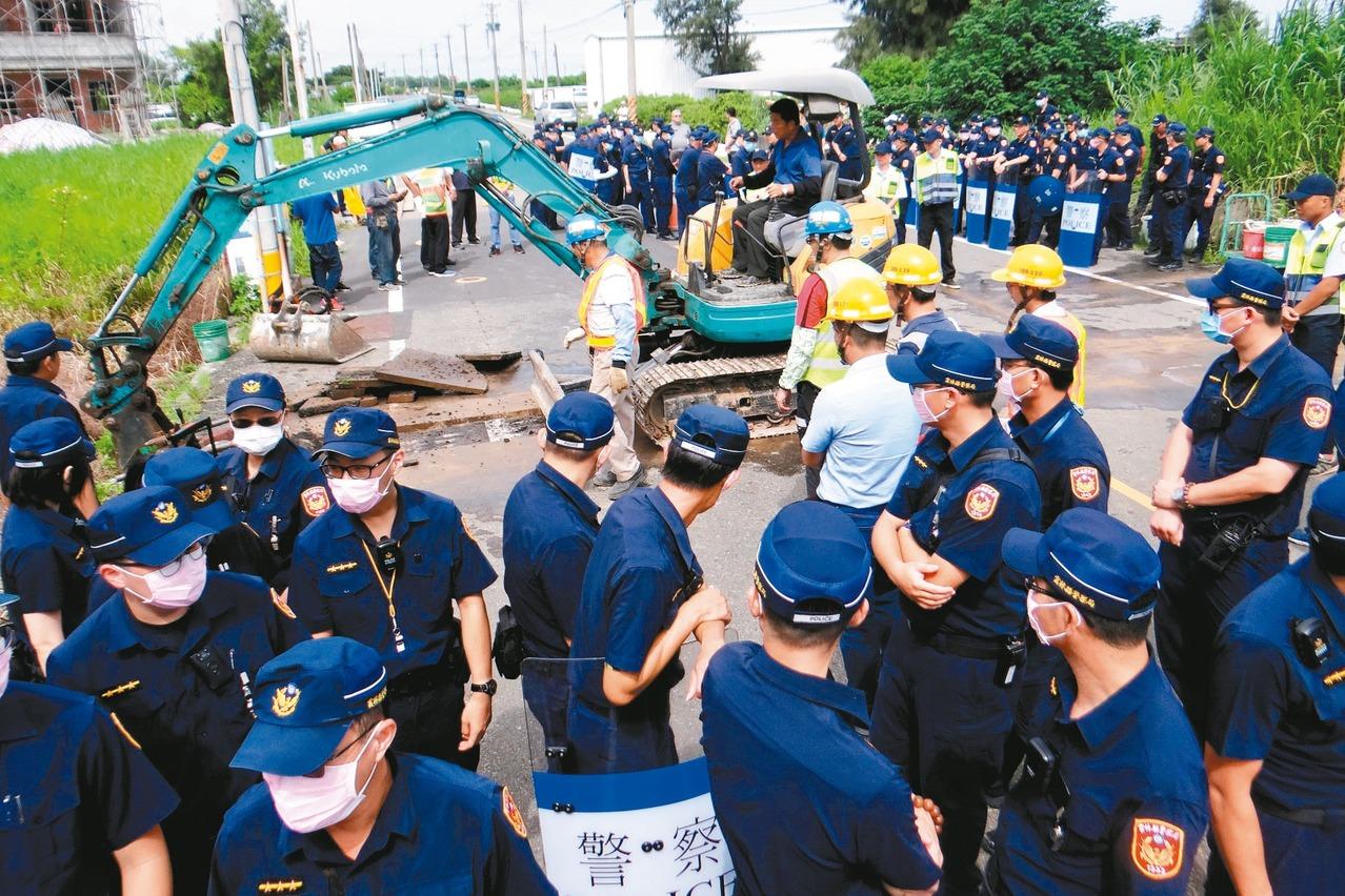 「最後一哩」台澎電纜 警戒護動工