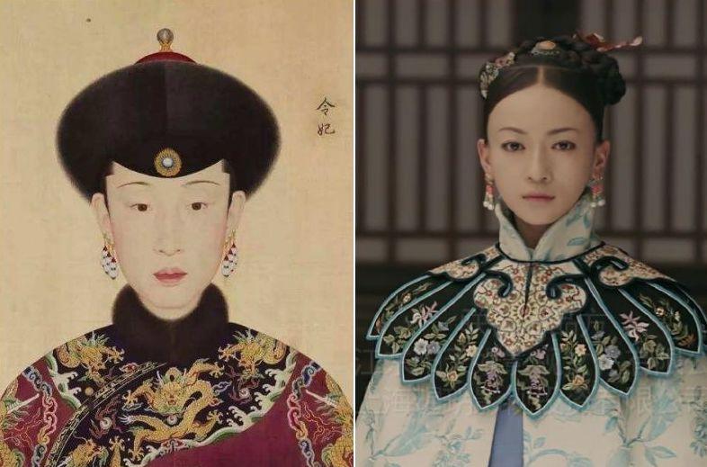 吳謹言(右)飾演「魏瓔珞」和原型人物令妃(左)。 圖/摘自網路