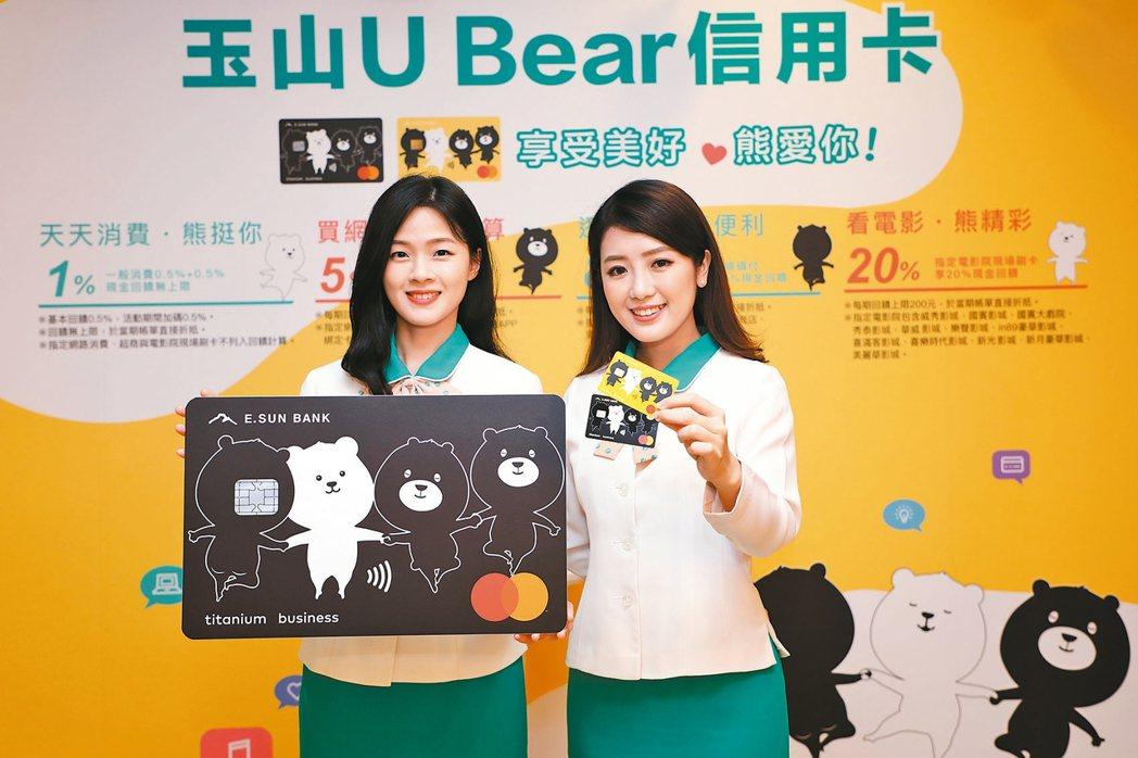 「玉山U Bear信用卡」正式上巿,推出消費通路最高20%現金回饋。 玉山銀行/...