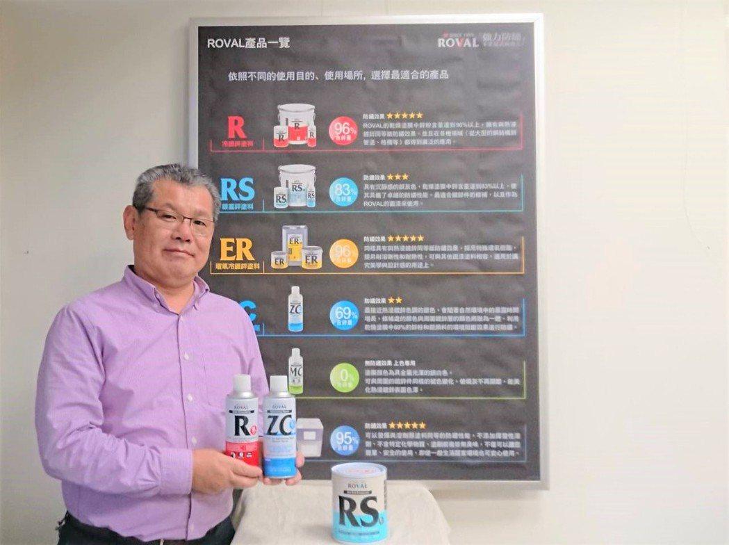 美力華營業部部長星繁行展示冷鍍鋅防鏽塗料日本第一大品牌ROVAL。 莊智強/攝影