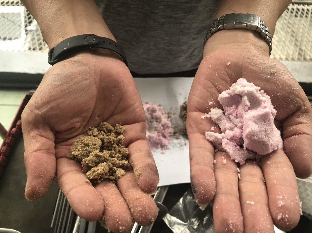 左為木屑環保洗手膏用量,右則為一般用量,相對用量少到將近1/3。 許夷雯/攝影