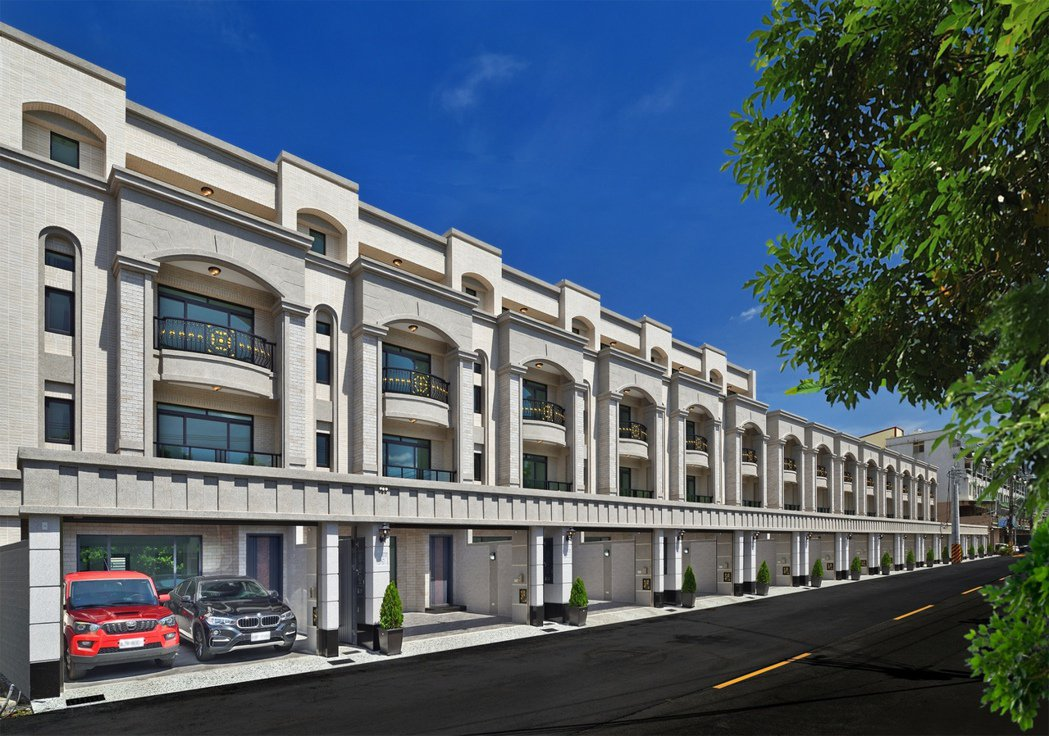 「都心院」新古典別墅的優雅街廓。圖片提供/和闐建築事業