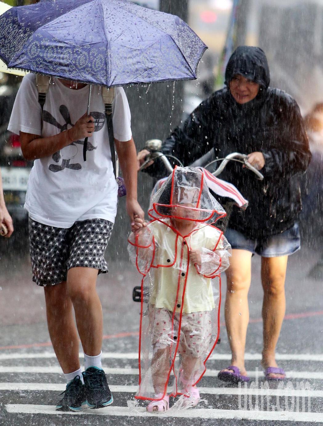 大台北地區昨午後下起夾帶雷聲的滂沱大雨,一位家長牽著穿上透明雨衣的小娃通過斑馬線...
