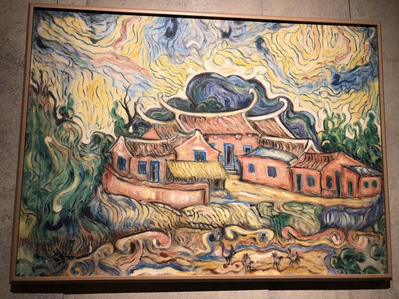 淡水畫家李永沱〈忠寮武舉人的老厝〉,繪於1979年。記者何定照/攝影