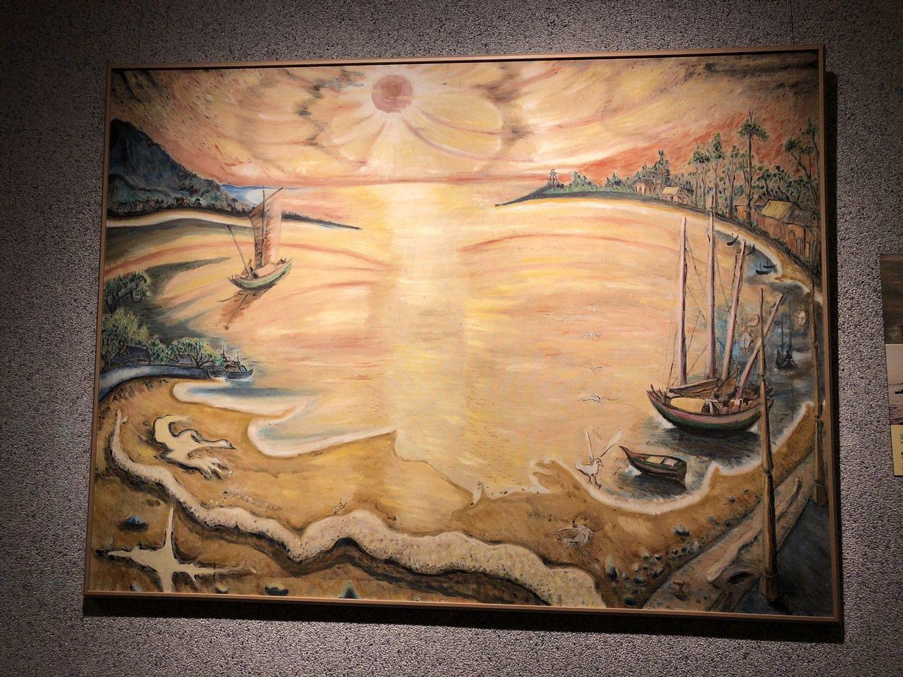 淡水畫家李永沱〈淡水河出海口〉,繪於1979年。記者何定照/攝影