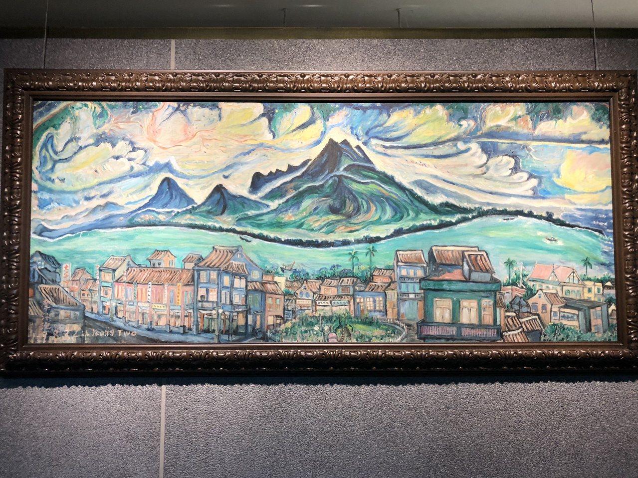 淡水畫家李永沱〈南窗外的淡水風景〉,繪於1983年。記者何定照/攝影