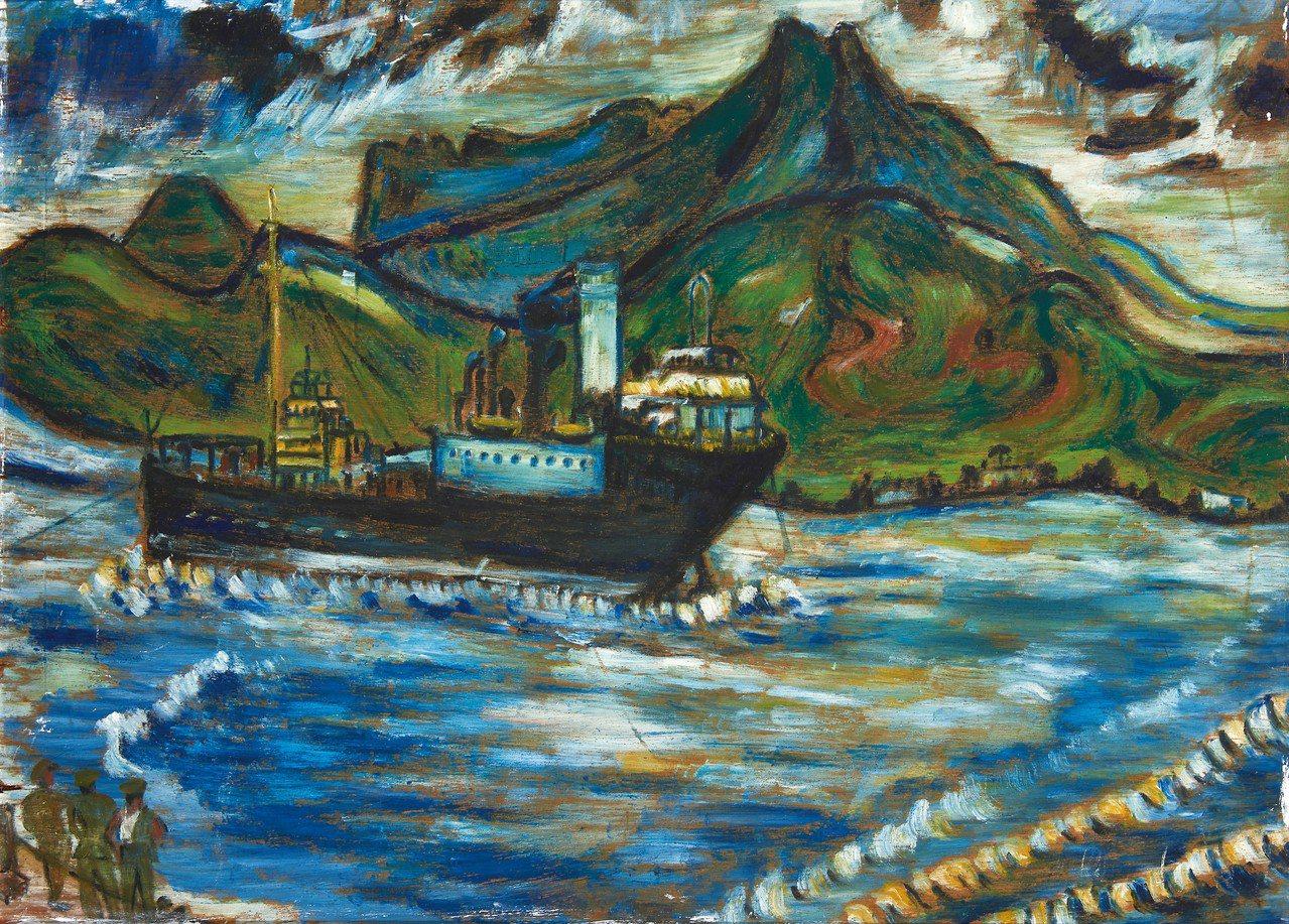 淡水畫家李永沱〈觀音山下的荷蘭油輪〉,繪於1971年。記者何定照/攝影