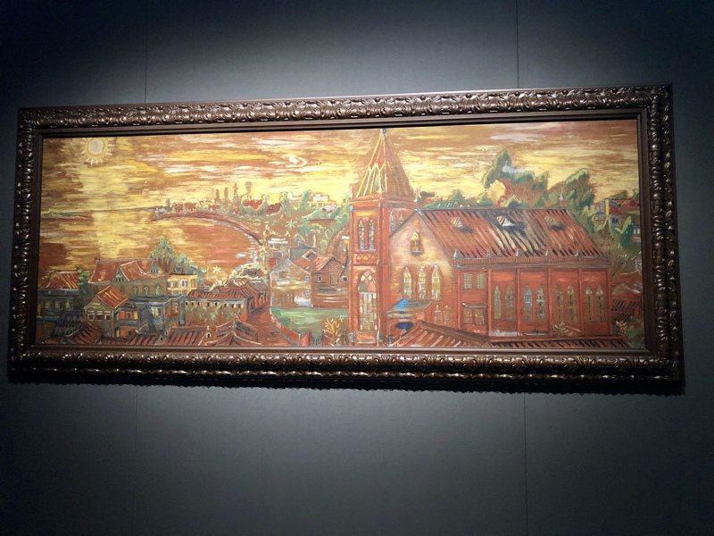 淡水畫家李永沱〈西窗外黃昏的教堂〉,繪於1970年。記者何定照/攝影