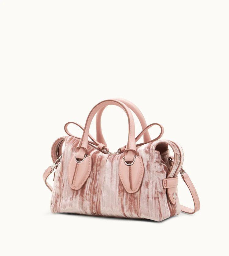 TOD'S Micro D-Styling裸粉色絨面手提包,46,600元。圖/...