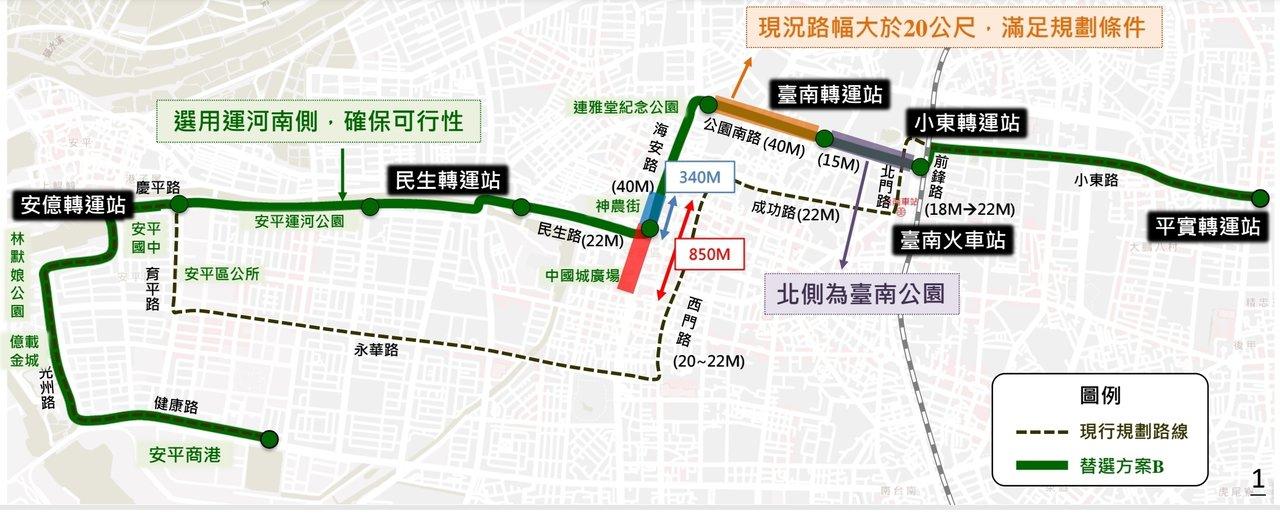台南市交通局今天公布捷運綠線的5條新路線,圖為方案B。圖/捷運處提供