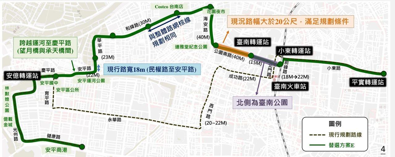 台南市交通局今天公布捷運綠線的5條新路線,圖為方案E。圖/捷運處提供