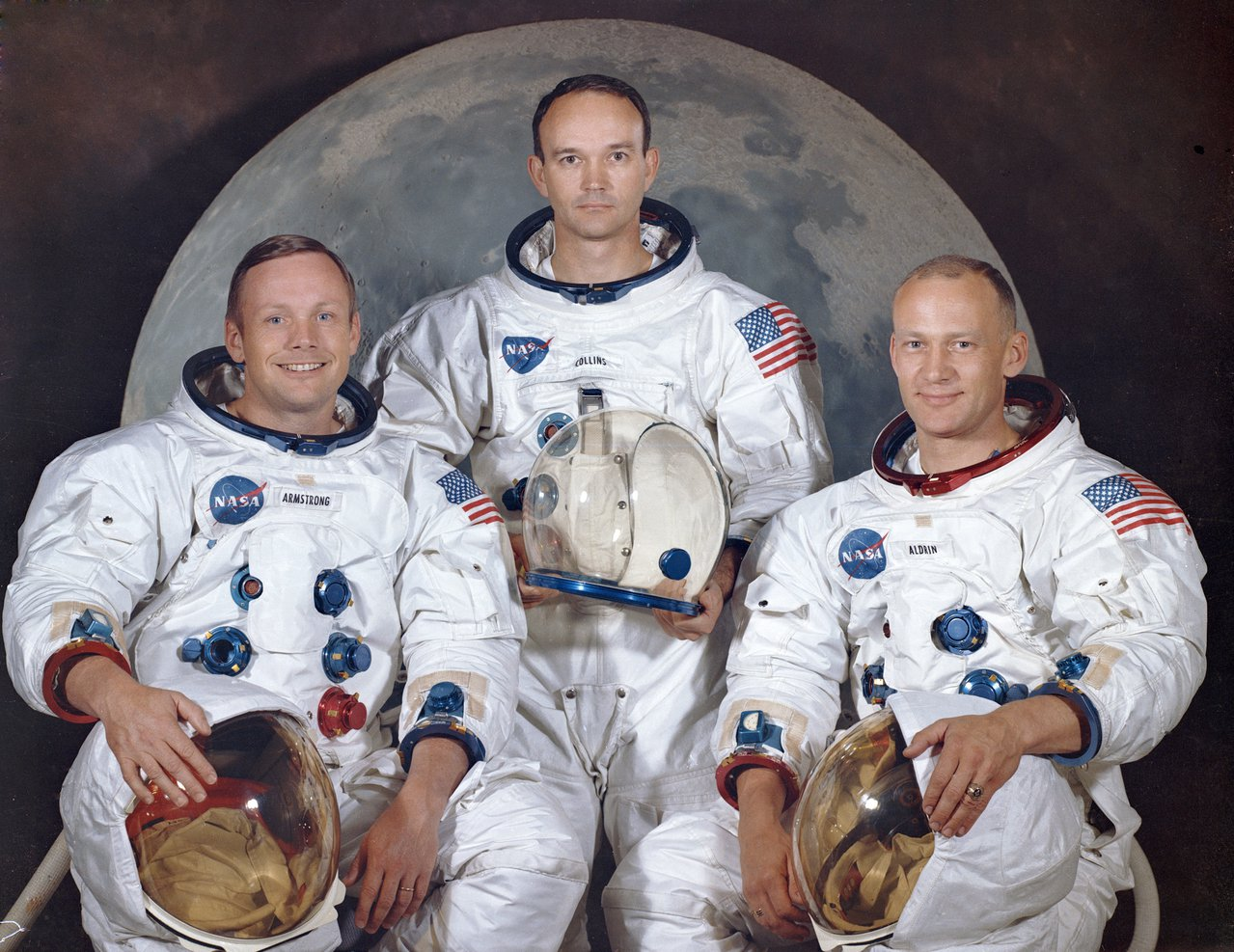 阿波羅11號的三位太空人,由左至右依序是阿姆斯壯、柯林斯、艾德林。照片攝於196...