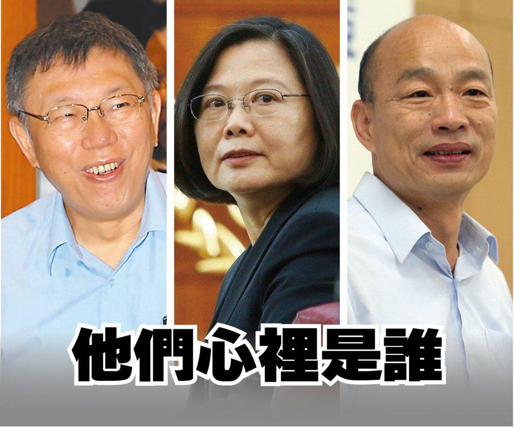 蔡英文、韓國瑜或柯文哲的可能副手人選是誰,引發關注。 圖/聯合報系資料照片