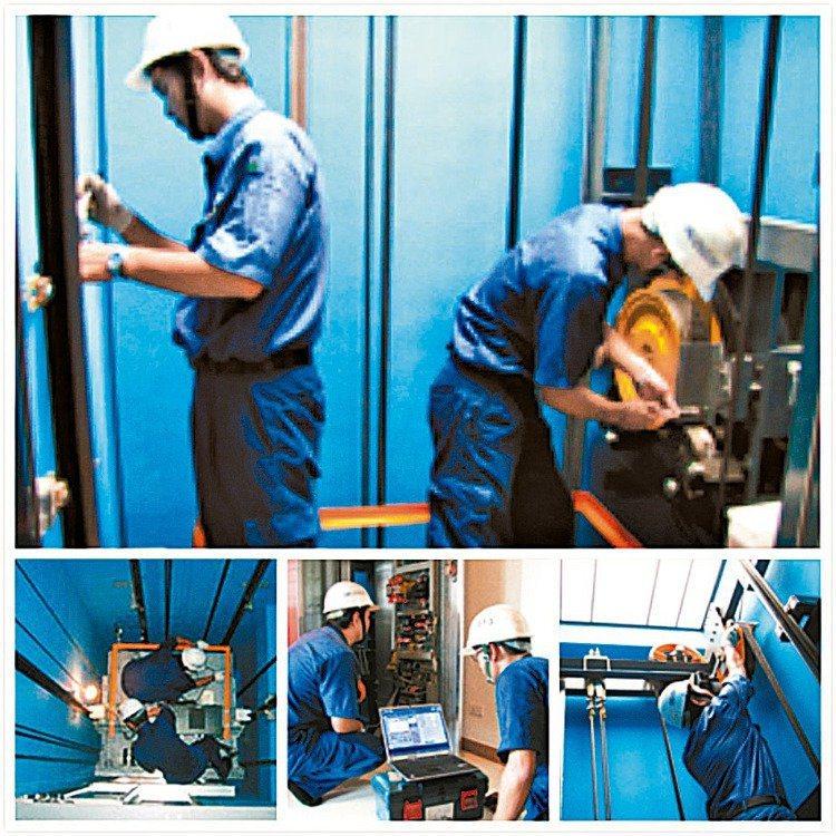 盛大電梯電梯更新工程現場情形。盛大/提供
