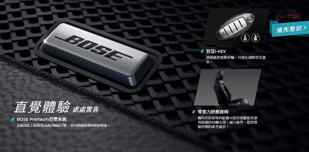 標配9隻揚聲器 Bose®Premium Audio音響。 摘自Nissan官方...