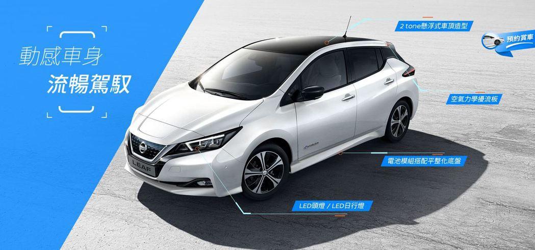 Nissan Leaf在先導頁面上進行了部分的配備說明。 圖/截自Nissan裕...