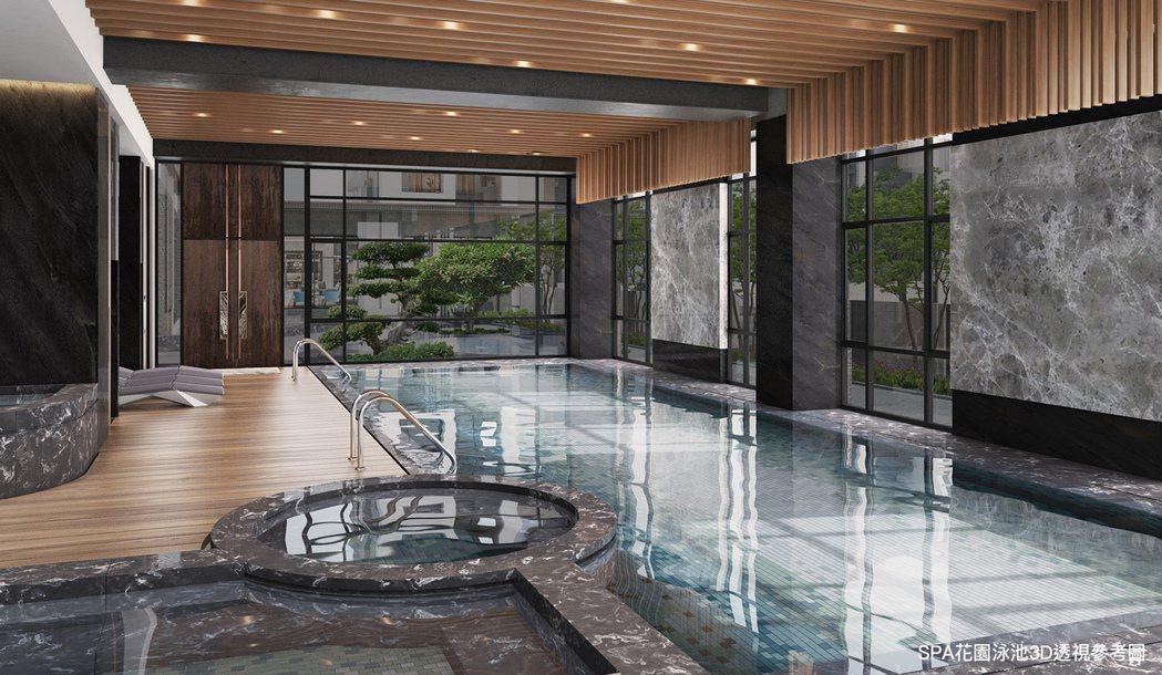 室內泳池3D透視參考示意圖。圖片提供/都市建設