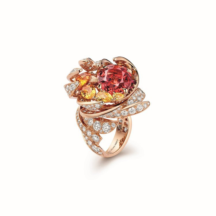 Soleil de Feu 18K玫瑰金戒指,鑲嵌一顆8.16 克拉橢圓形切割紅...