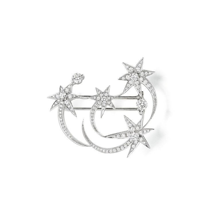 Étoiles Étoiles 18K白金胸針,鑲嵌明亮式切割鑽石。圖/Chau...