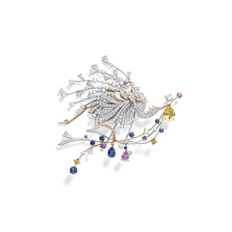 Parade 18K白金和18K玫瑰金胸針,鑲嵌一顆來自錫蘭2.28 克拉梨形黃...
