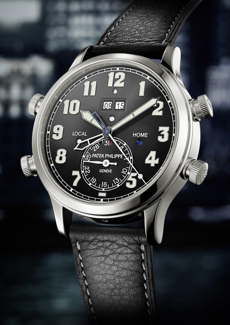 百達翡麗5520P-001兩地時間響鬧鉑金腕表,690萬元。圖/百達翡麗提供