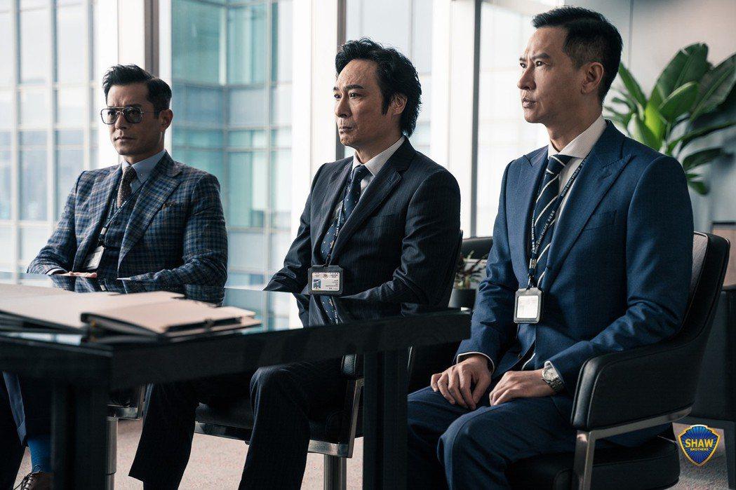 左起古天樂、吳鎮宇、張家輝三大金獎影帝再度合作演出。圖/華映提供