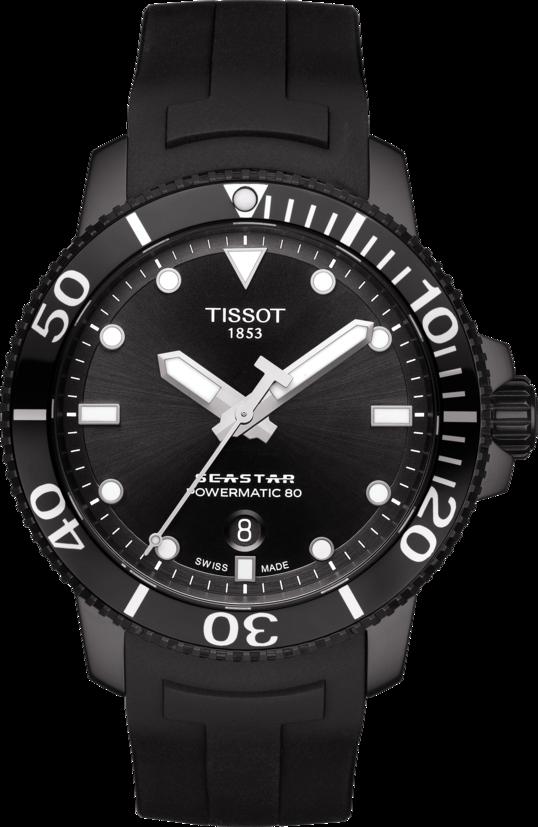 天梭表Seastar 1000海星系列自動款潛水腕表,黑色PVD不鏽鋼表圈搭配陶...