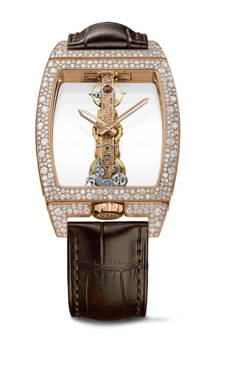 Golden Bridge雪花鑲嵌玫瑰金腕表,約185萬元。圖/崑崙表提供