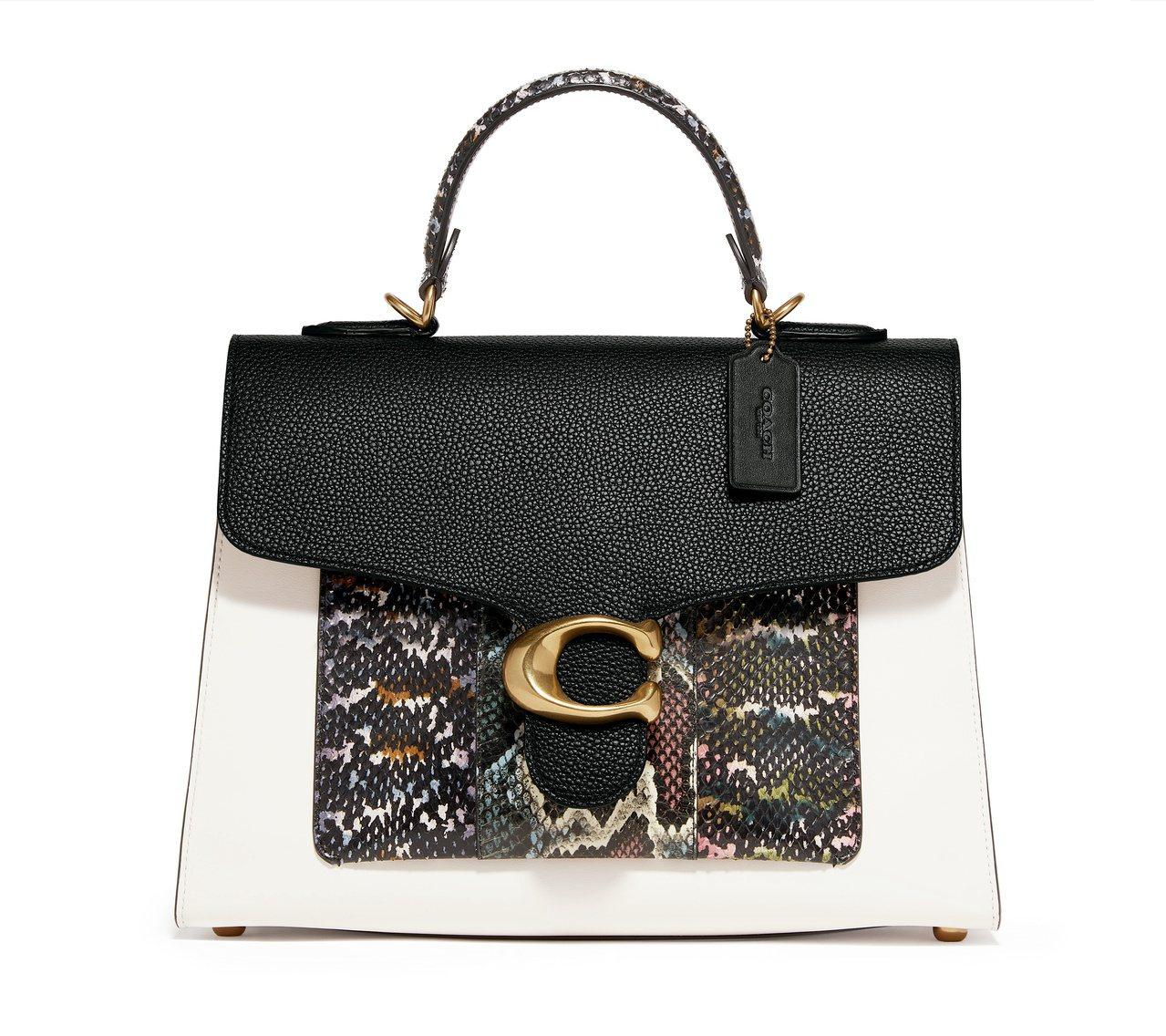 手提Tabby蛇皮拼接牛皮手袋,售價29,800元。圖/COACH提供